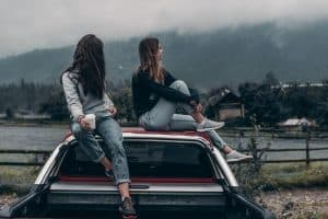 teenage girls going for camping